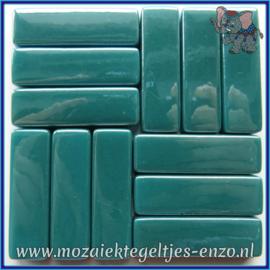 Glasmozaiek steentjes - Stix Rechthoekjes Staafjes XL Parelmoer - 12 x 38 mm - Enkele Kleuren - per 50 gram - Dark Teal