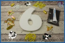 Mozaiek Kant & Klaar Pakket Piepschuim Huisnummer Groot - Cijfer 6 Geel