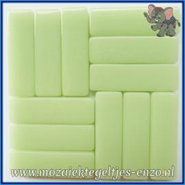 Glasmozaiek steentjes - Stix Rechthoekjes Staafjes XL Normaal - 12 x 38 mm - Enkele Kleuren - per 50 gram - Soft Green