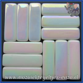 Glasmozaiek steentjes - Stix Rechthoekjes Staafjes XL Parelmoer - 12 x 38 mm - Enkele Kleuren - per 50 gram - White