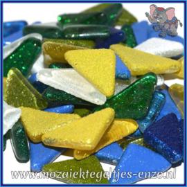 Glasmozaiek steentjes - Soft Glass Puzzles Glitter - Gemixte Kleuren - per 50 gram - Rainbow Ice