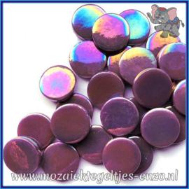 Glasmozaiek steentjes - Penny Rounds Parelmoer - 18 mm - Enkele Kleuren - per 50 gram - Purple