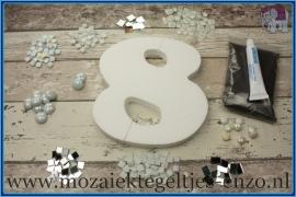 Mozaiek Kant & Klaar Pakket Piepschuim Huisnummer Groot - Cijfer 8 Wit