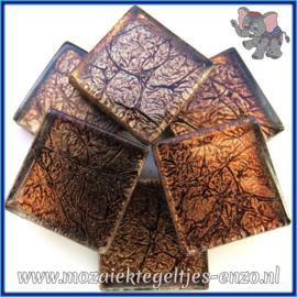 Glasmozaiek tegeltjes - Foil - 2 x 2 cm - Enkele Kleuren - per 20 steentjes - Brass