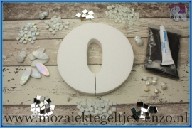Mozaiek Kant & Klaar Pakket Piepschuim Huisnummer Groot - Cijfer 0 Wit