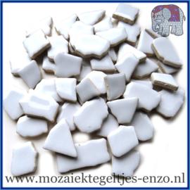 Keramische mozaiek steentjes - Keramiek Puzzel Stukjes Normaal - Enkele Kleuren - per 50 gram - Ice Blue