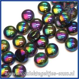 Glasmozaiek steentjes - Optic Drops Parelmoer - 12 mm - Enkele Kleuren - per 50 gram - Merbau