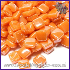 Glasmozaiek Pixel steentjes - Ottoman Parelmoer - 0,8 x 0,8 cm - Enkele Kleuren - per 50 gram - Orange Opal