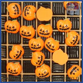 Cabochon hars plaksteen - Halloween - Platte onderkant - Unlimited edition - per 1 stuk - Pompoen hoofd