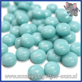 Glasmozaiek steentjes - Optic Drops Normaal - 12 mm - Enkele Kleuren - per 50 gram - Pale Teal