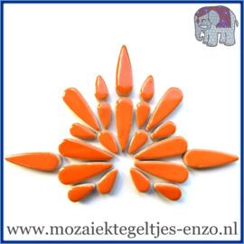 Keramische mozaiek steentjes - Keramiek Teardrops Druppels Normaal - 15 en 30 mm - Enkele Kleuren - per 50 gram - Popsicle Orange