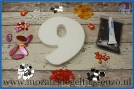 Mozaiek Kant & Klaar Pakket Piepschuim Huisnummer Groot - Cijfer 9 Oranje