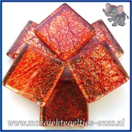 Glasmozaiek tegeltjes - Foil - 2 x 2 cm - Enkele Kleuren - per 20 steentjes - Amber