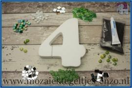 Mozaiek Kant & Klaar Pakket Piepschuim Huisnummer Groot - Cijfer 4 Groen