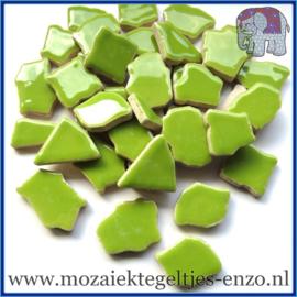 Keramische mozaiek steentjes - Keramiek Puzzel Stukjes Normaal - Enkele Kleuren - per 50 gram - Kelly Green