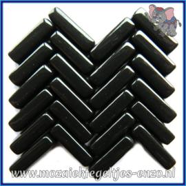 Glasmozaiek steentjes - Stix Rechthoekjes Staafjes Normaal - 6 x 20 mm - Enkele Kleuren - per 50 gram - Black