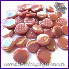 Glasmozaiek steentjes - Penny Rounds Parelmoer - 18 mm - Enkele Kleuren - per 50 gram - Dark Rose