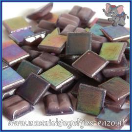 Glasmozaiek tegeltjes - Parelmoer - 1 x 1 cm - Enkele Kleuren - per 60 steentjes - Mini Amethyst