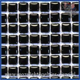 Glasmozaiek tegeltjes - Murrini Crystal - 1 x 1 cm - Enkele Kleuren - per 60 steentjes - Mini Polished Black