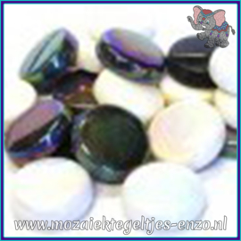 Glasmozaiek steentjes - Optic Drops Normaal en Parelmoer - 20 mm - Gemixte Kleuren - per 50 gram - Ebony and Ivory