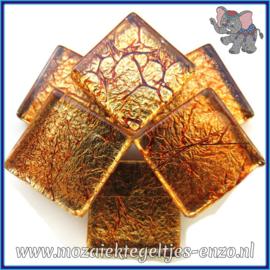 Glasmozaiek tegeltjes - Foil - 2 x 2 cm - Enkele Kleuren - per 20 steentjes - Copper