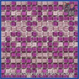 Glasmozaiek tegeltjes - Glitter - 1 x 1 cm - Gemixte Kleuren - per 60 steentjes - Mini Purple Daze
