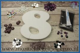 Mozaiek Kant & Klaar Pakket Piepschuim Huisnummer Groot - Cijfer 8 Paars