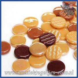 Glasmozaiek steentjes - Penny Rounds Normaal en Parelmoer - 18 mm - Gemixte Kleuren - per 50 gram - Cuba Libre