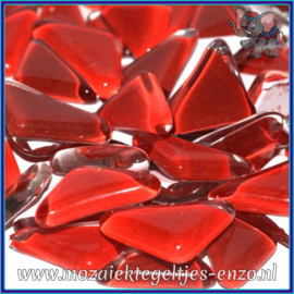 Glasmozaiek steentjes - Soft Glass Puzzles Normaal - Gemixte Kleuren - per 50 gram - Poppy Red