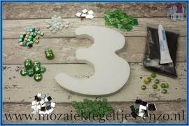 Mozaiek Kant & Klaar Pakket Piepschuim Huisnummer Groot - Cijfer 3 Groen