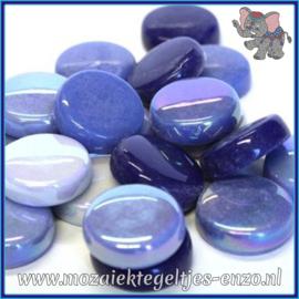 Glasmozaiek steentjes - Optic Drops Normaal en Parelmoer - 20 mm - Gemixte Kleuren - per 50 gram - Electric Blue