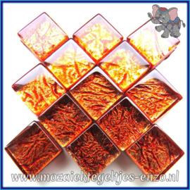 Glasmozaiek tegeltjes - Foil - 1 x 1 cm - Enkele Kleuren - per 50 gram - Mini Amber
