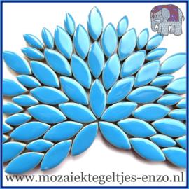 Keramische mozaiek steentjes - Petals Bloemblaadjes Normaal - 14 en 21 mm - Enkele Kleuren - per 50 gram - Thalo Blue