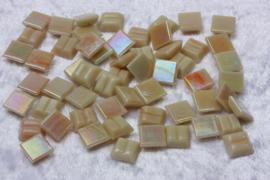 Glasmozaiek tegeltjes - Parelmoer - 1 x 1 cm - Enkele Kleuren - per 60 steentjes - Mini Cream