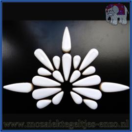 Keramische mozaiek steentjes - Keramiek Teardrops Druppels Normaal - 15 en 30 mm - Enkele Kleuren - per 50 gram - White