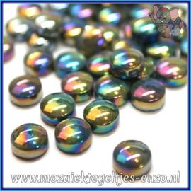 Glasmozaiek steentjes - Optic Drops Parelmoer - 12 mm - Enkele Kleuren - per 50 gram - Black