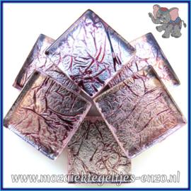 Glasmozaiek tegeltjes - Foil - 2 x 2 cm - Enkele Kleuren - per 20 steentjes - Garnet