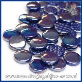 Glasmozaiek steentjes - Penny Rounds Parelmoer - 18 mm - Enkele Kleuren - per 50 gram - Royal Blue