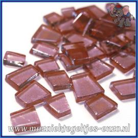 Glasmozaiek steentjes - Transparant Glass Puzzles Normaal - Enkele Kleuren - per 50 gram - Trance Rose