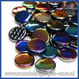 Glasmozaiek steentjes - Penny Rounds Parelmoer - 18 mm - Enkele Kleuren - per 50 gram - Black