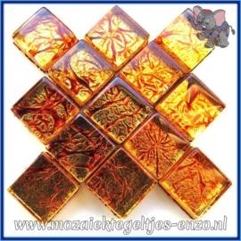 Glasmozaiek tegeltjes - Foil - 1 x 1 cm - Enkele Kleuren - per 50 gram - Mini Copper
