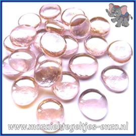 Glasmozaiek steentjes - Glasnuggets/Glasstenen Normaal - 18/22 mm - Enkele Kleuren - per 10 stuks - Pastel Pink Crystal