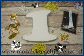 Mozaiek Kant & Klaar Pakket Piepschuim Huisnummer Groot - Cijfer 1 Geel