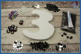 Mozaiek Kant & Klaar Pakket Piepschuim Huisnummer Groot - Cijfer 3 Zwart