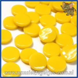 Glasmozaiek steentjes - Penny Rounds Normaal - 18 mm - Enkele Kleuren - per 50 gram - Yellow Opal