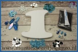 Mozaiek Kant & Klaar Pakket Piepschuim Huisnummer Groot - Cijfer 1 Blauw