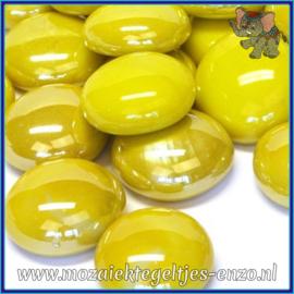 Glasmozaiek steentjes - Glasnuggets/Glasstenen Parelmoer - 18/22 mm - Enkele Kleuren - per 10 stuks - Yellow Opalescent