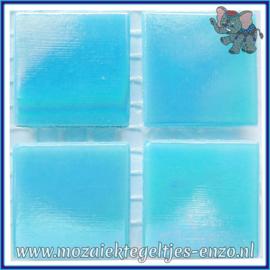 Glasmozaiek tegeltjes - Parelmoer - 2 x 2 cm - Enkele Kleuren - per 20 steentjes - Turquoise