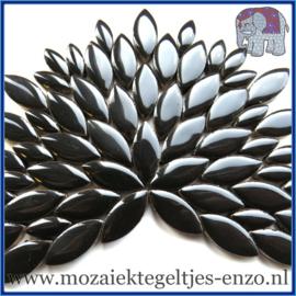 Keramische mozaiek steentjes - Petals Bloemblaadjes Normaal - 14 en 21 mm - Enkele Kleuren - per 50 gram - Black
