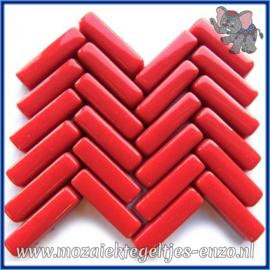 Glasmozaiek steentjes - Stix Rechthoekjes Staafjes Normaal - 6 x 20 mm - Enkele Kleuren - per 50 gram - Bold Red